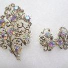 Coro Brooch and Earrings Set Gold Tone Metal Aurora Borealis Rhinestones