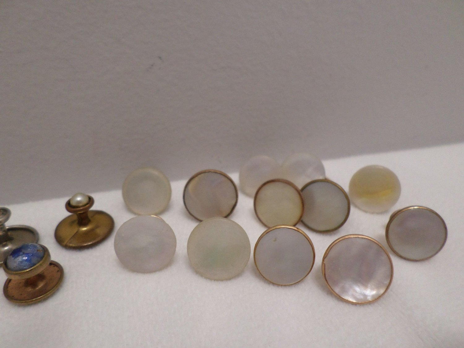 Antique Men's Shirt Buttons Gold Tone Metal with Mother of Pearl and other stone