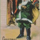 Antique Christmas Postcard Santa Claus in Green Embossed Unposted Divided