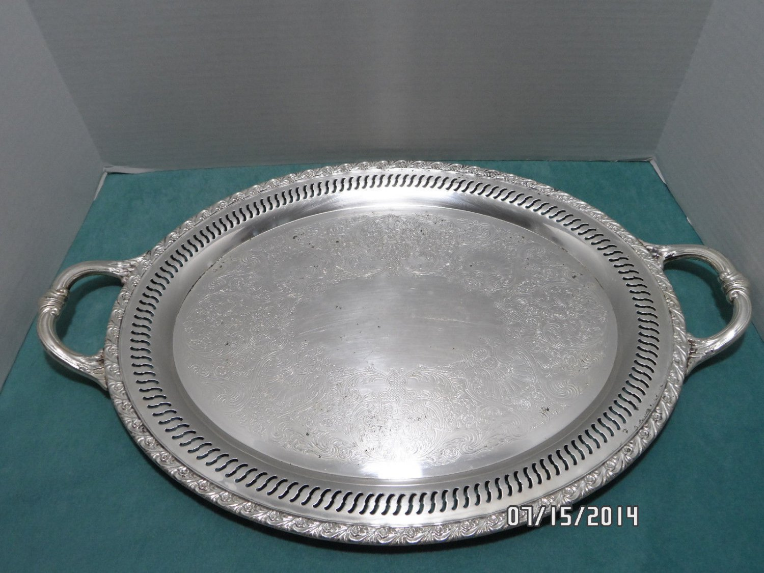 Vintage Serving Tray Large Silver Plated Oval
