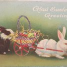 Antique Easter Postcard Rabbit Pulling Cart of Colored Eggs Unposted divided