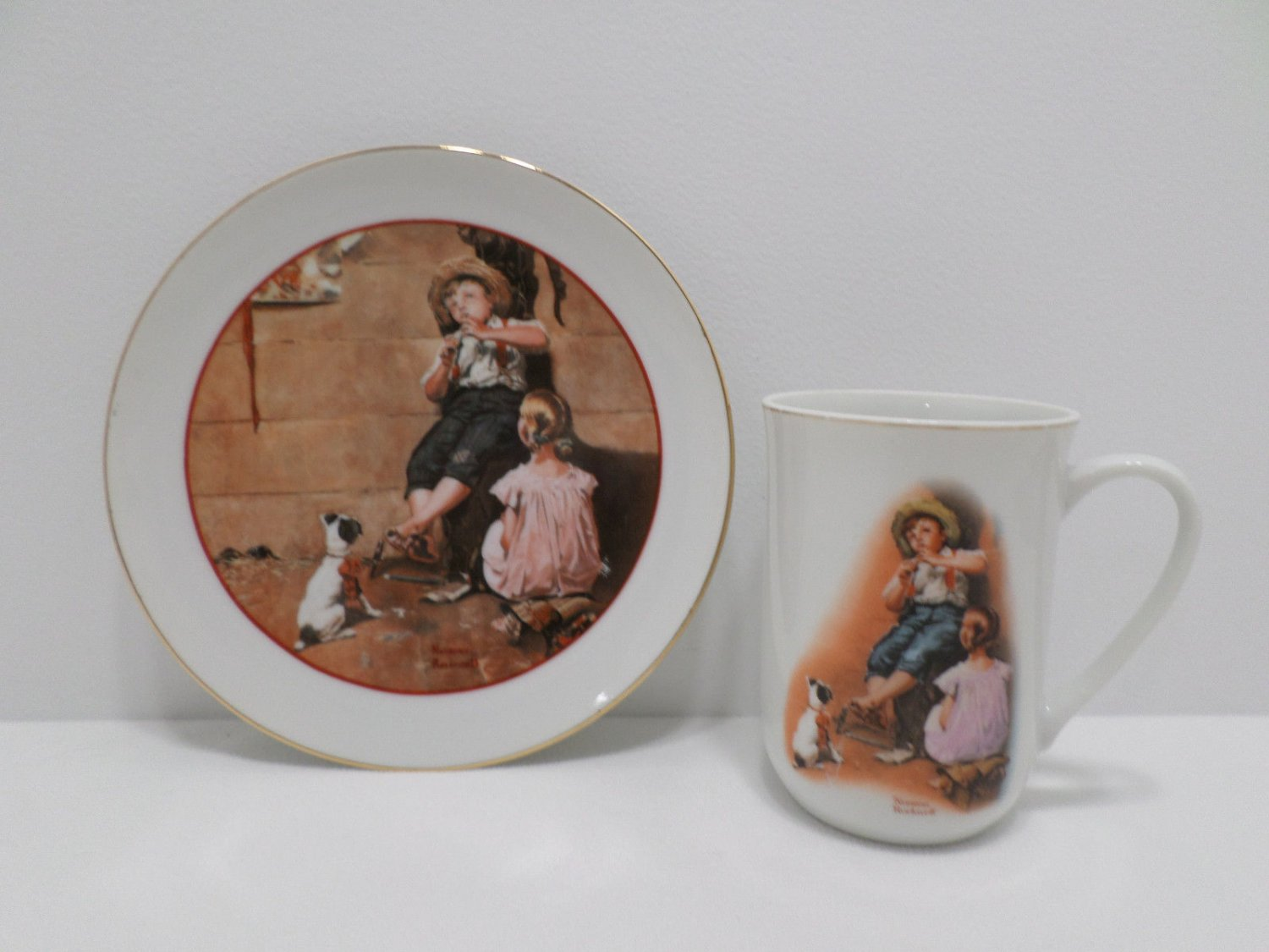 Collector Cup and Plate The Music Maker by Norman Rockwell Young Love Series