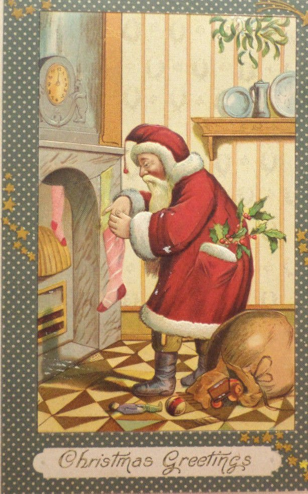 Antique Christmas Postcard Santa Claus Filling Stockings Embossed Posted 1908