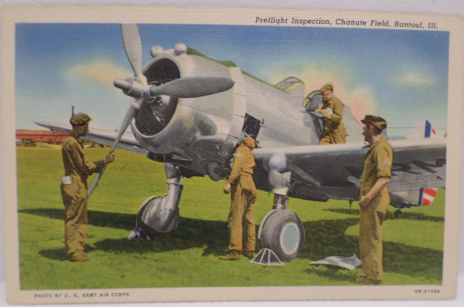 WWII Postcard Preflight Inspection Chanute Field Rantoul Ill
