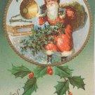 Antique Christmas Postcard Santa Claus Phonograph Embossed Posted