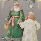 Antique Christmas Postcard Santa Claus Dressed in Green Walking with a Fairy
