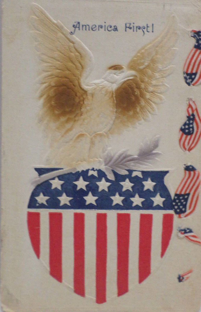 Antique Postcard America First American Flag Made in the USA