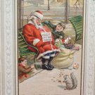 Antique Christmas Postcard Santa Claus Sleeping on Bench Boys Tying Boots to Leg