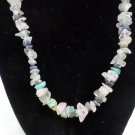 "Rope Necklace Rough Cut Polished Gemstone Beads 18"" Long Barrel Closure"