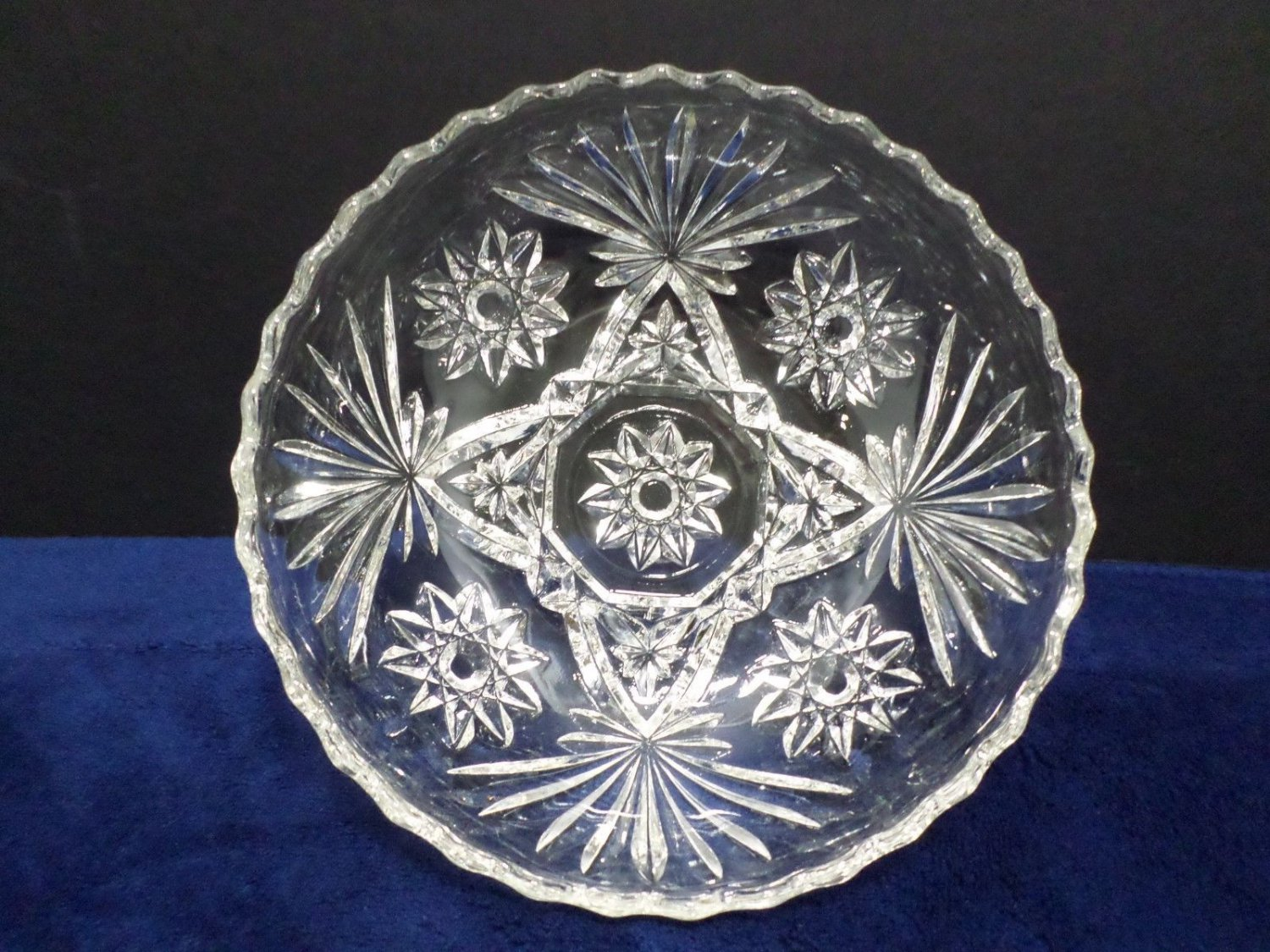 Cereal Bowl EAPC Clear Glass Star of David Pattern by Anchor Hocking