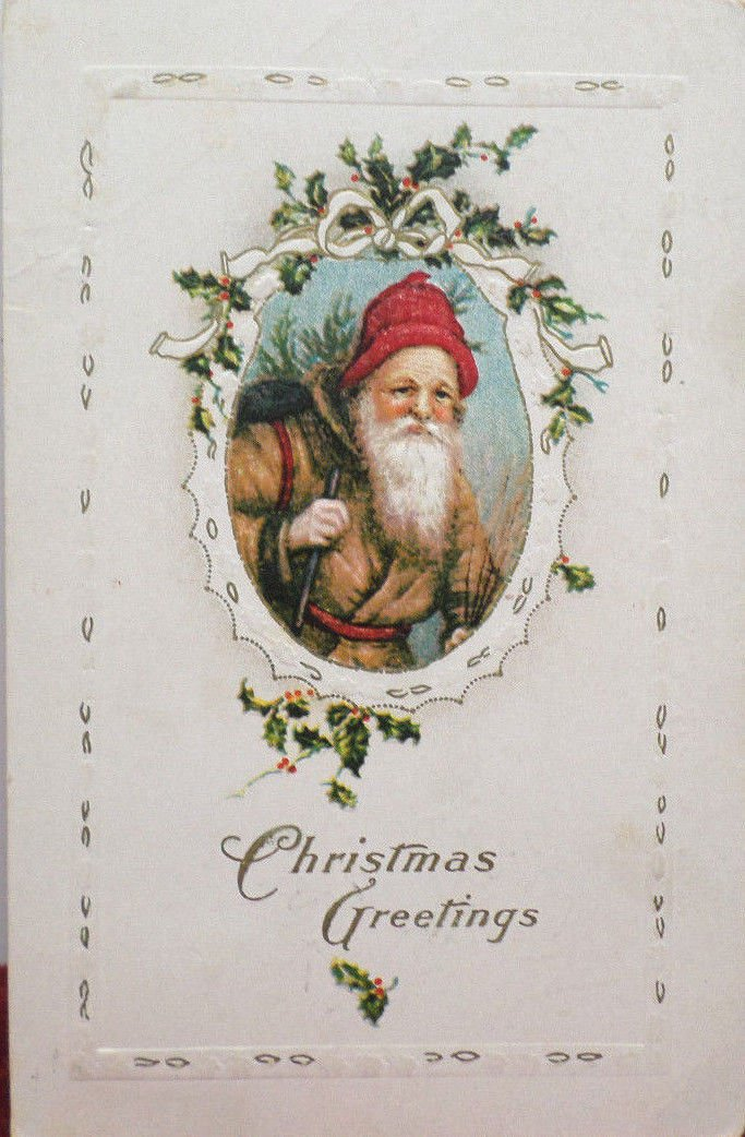 Christmas Postcard Santa Claus Dressed in Brown Robe and Red Hat USA