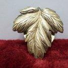 Scarf Clip Brooch Gold Tone Metal Leaf