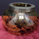 Votive Candle Holder Tan Glass with Brown Spots with Brass Insert made in India