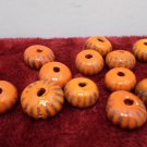 Antique African Trade Beads Powder Glass Orange with Brown Stripes Rare