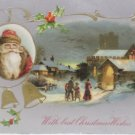 Antique Christmas postcard Santa Claus bells posted divided