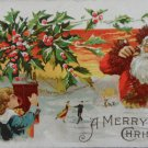 Antique Christmas Postcard Santa Claus Talking on Telephone to Little Girl