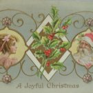 Antique Christmas Postcard Santa Claus and Little Girl Unposted Divided