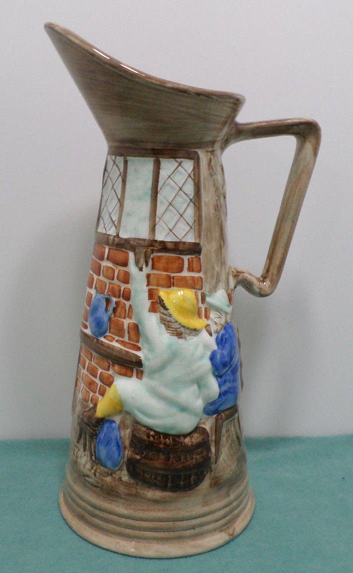 Vintage Pitcher Hand Painted Ceramic Bradford England