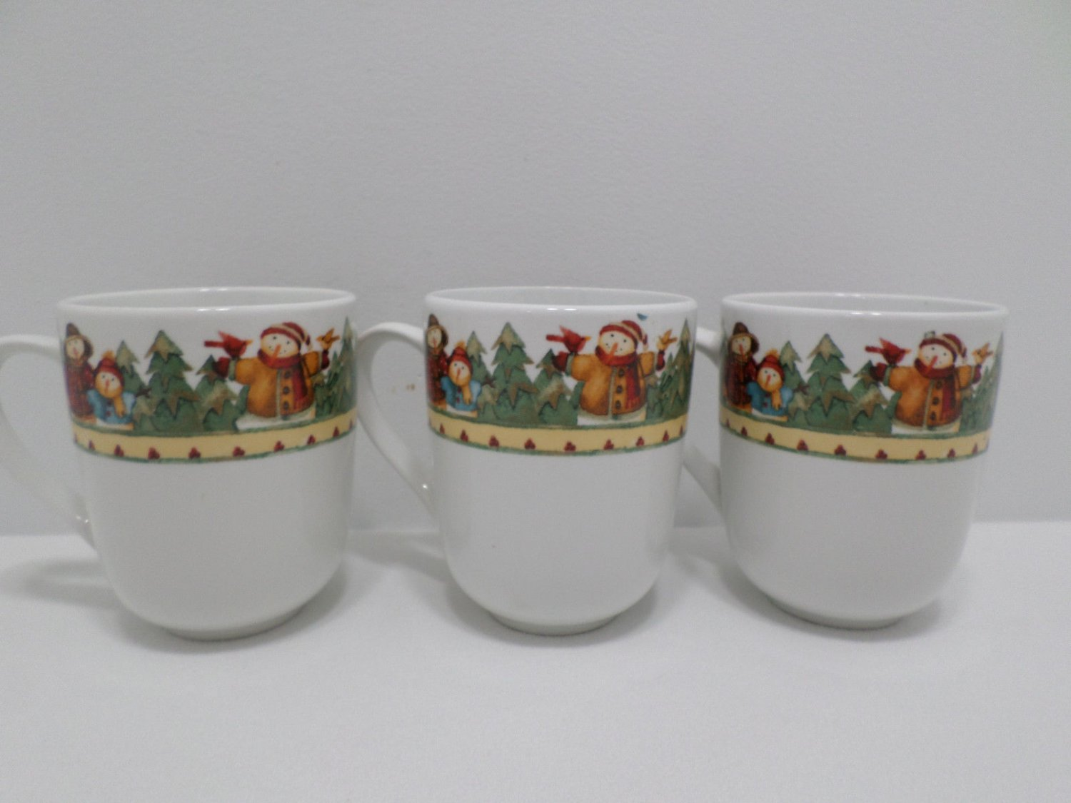 Collector Mugs designed by Debi  Porcelain Christmas Gibson Three pcs