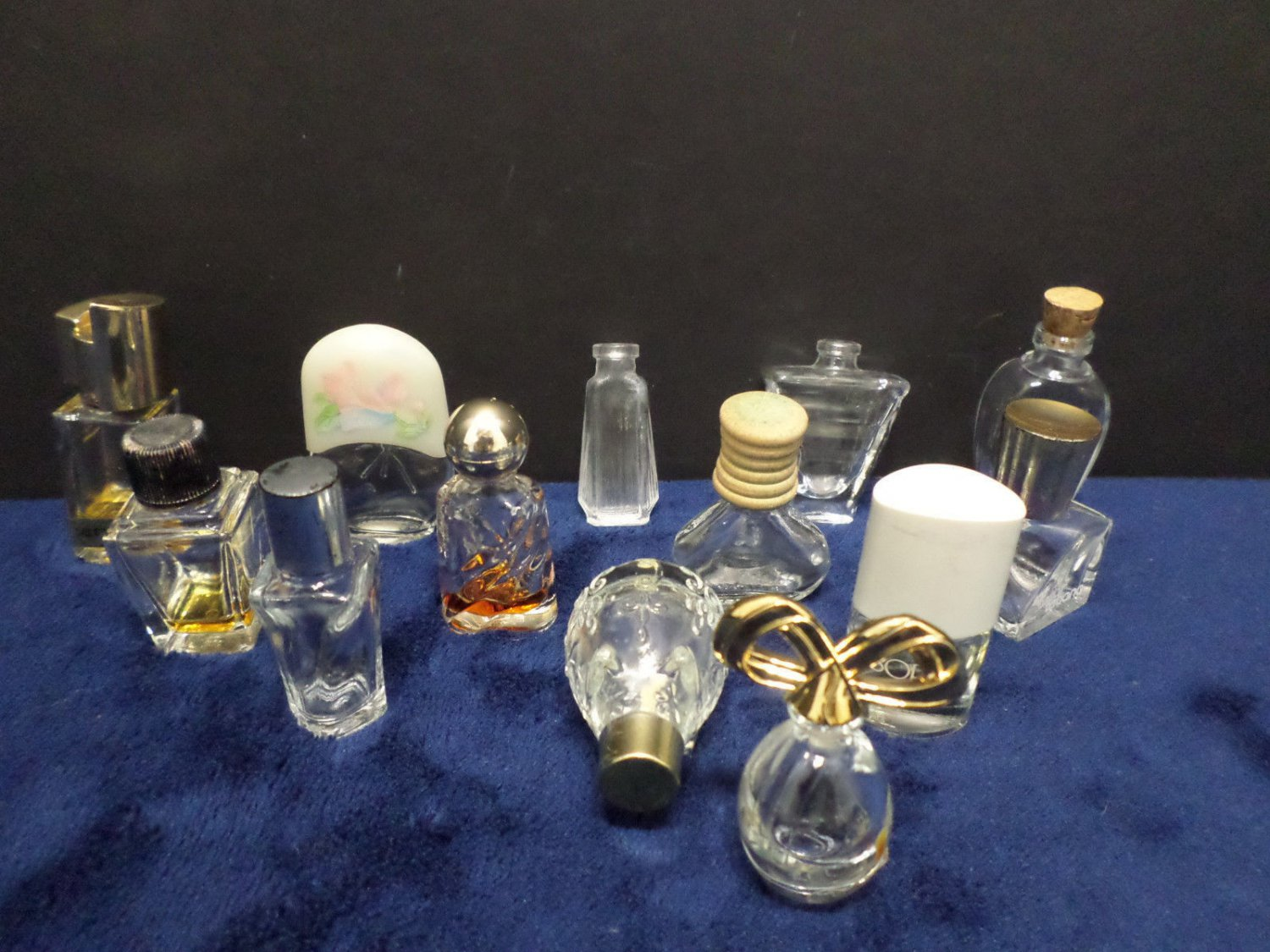 Vintage Perfume Bottles Clear Glass Empty 13 Bottles