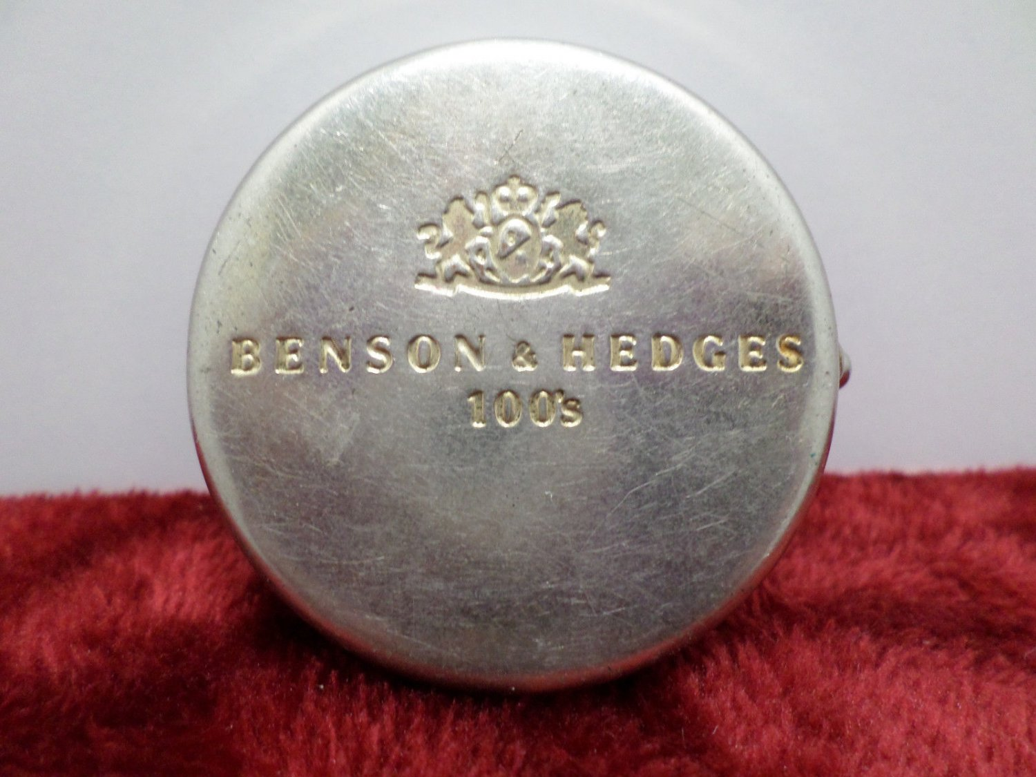 Travel Ashtray Benson and Hedges Silver Tone Metal