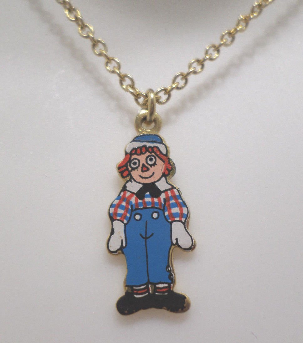 Childrens Necklace Gold Tone Metal Chain with Raggedy Andy Pendant