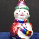 Christmas Tree Ornament Glass Snowman Vintage