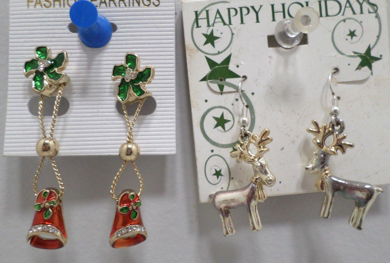 Christmas Earrings 1 pair Red Bells 1 pair Gold and Silver Reindeer Pierced