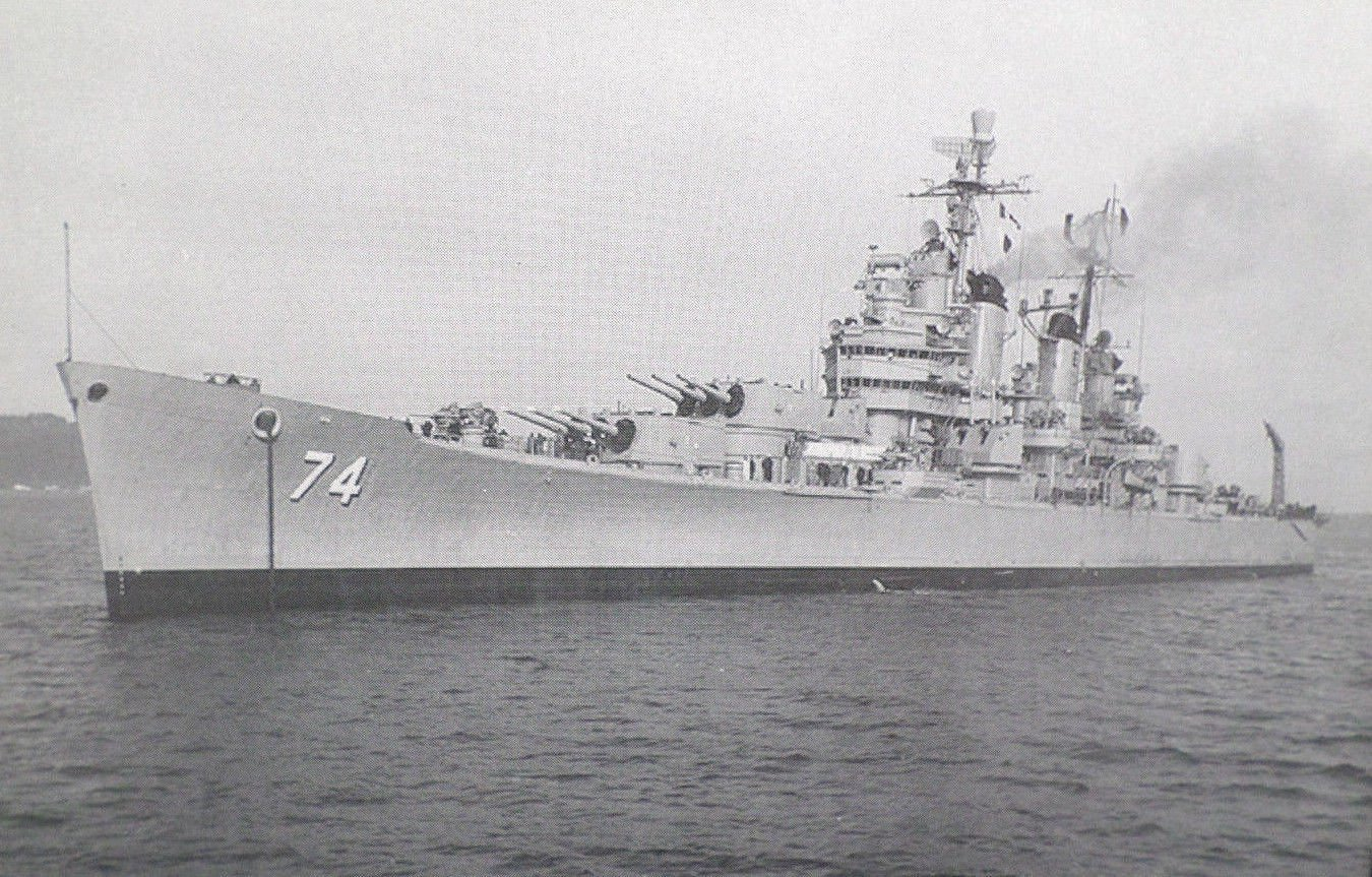 USS Columbus CA-74 Military Ship Real Photo Postcard Official U.S. Navy Photo