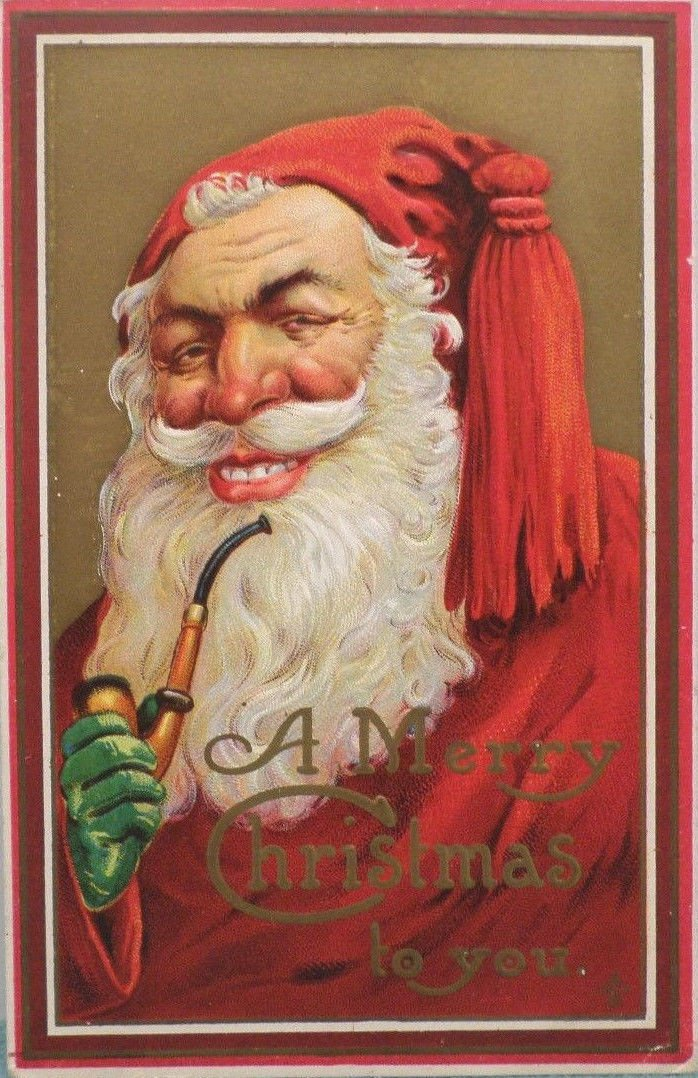 Christmas postcard Santa Claus green gloves smoking a pipe embossed unposted