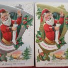 Two Antique Christmas Postcards Santa Claus Smoking a Pipe Embossed Posted
