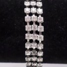 Vintage Weiss Bracelet Silver Tone Metal with Rhinestones Costume Jewelry