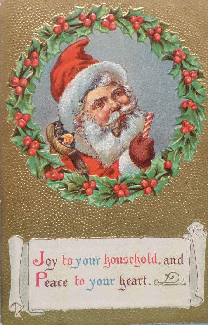Christmas Postcard Santa Claus Smoking a Pipe Embossed Posted Divided