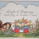 Antique Easter Postcard Rabbits Pulling Cart of Colored Eggs Posted Embossed