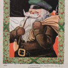 1907 Christmas postcard Santa Claus Wearing brown coat green Driving hat Smoking