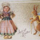 Antique Easter Postcard Humanized Rabbit Cute Little Dutch Girl Embossed