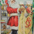 Antique Christmas Postcard Santa Claus Filling His Bag With Toys