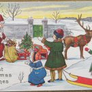 Christmas Postcard Santa Claus Giving Toys to Children made in the USA