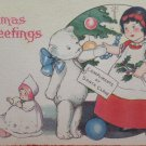 Antique Christmas Postcard Little Girl Teddy Bear Doll Unposted Divided