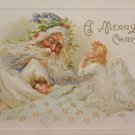 1910 Christmas Postcard Santa Claus Watching Children Sleep and Say Prayers