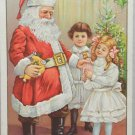 Antique Christmas Postcard Santa Claus Giving Presents to Children Embossed