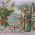 Antique Christmas postcard Santa Claus Wearing Green Carrying Tree Germany