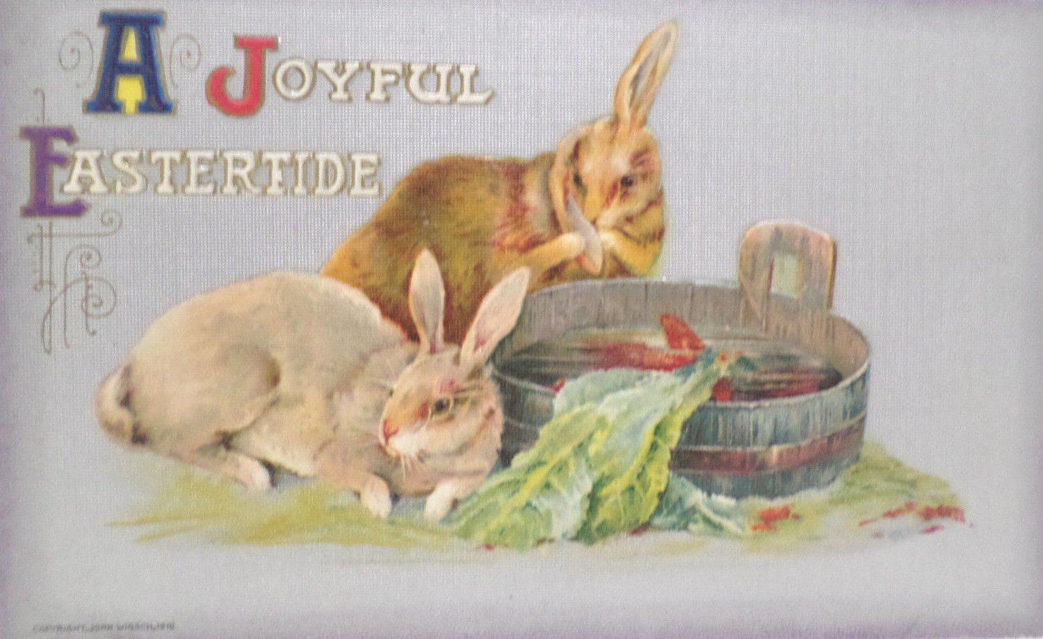 Antique Easter Postcard Rabbits John Winsch Germany Unposted Embossed