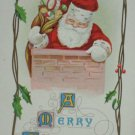 Antique Christmas Postcard Santa Claus in Chimney Unposted Embossed Divided
