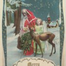 Christmas postcard Santa Claus walking with an Angel and a reindeer unposted