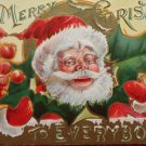 Antique Christmas Postcard Santa Claus Holly Berries Embossed Posted Divided