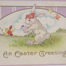 Antique Easter Postcard Humanized Rabbit Reading Embossed Posted Divided