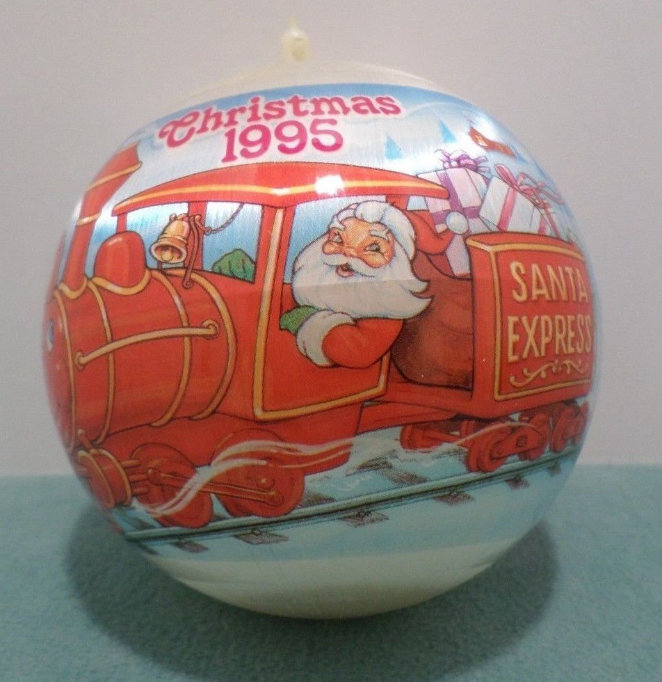 1995 Christmas Tree Ornament Satin Bulb with Santa Express Train
