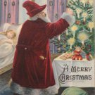 Christmas Postcard Santa Claus Germany Embossed Unposted Divided