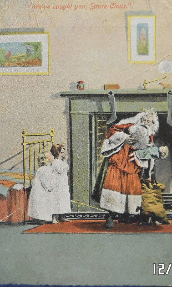 Christmas Postcard Santa Claus Delivering Presents Embossed Unposted